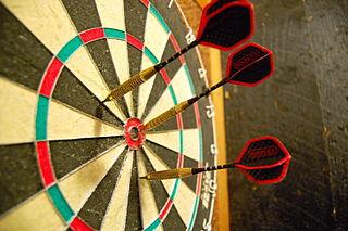 Darts in een dartbord