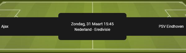 Ajax tegen PSV quoteringen voor de Eredivisie bij online bookie BetFIRST