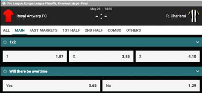 odds antwerp charlerloi Belgische Play offs Europa Finale