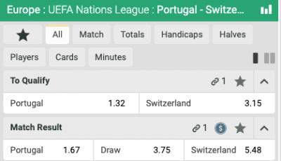 Portugal Zwitserland Quoteringen Halve Finale EUFA Nations League