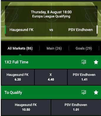 Odds Europa League Haugesund tegen PSV
