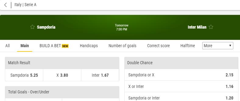 odds sampdoria inter milan bonus