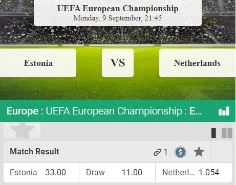 Estland Nederland odds voor wedden op Euro 2020 kwalificatie