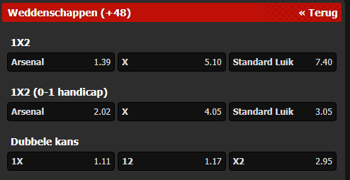 odds voor gokken op Arsenal Standard luik europa league