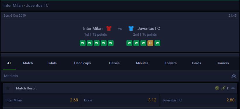 evobet odds Inter Milan Juventus