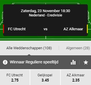 De beste odds AZ FC Utrecht