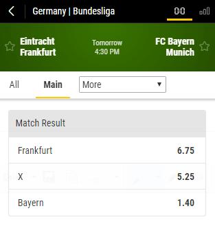gokken op Eintracht Frankfurt- Bayern Munchen odds