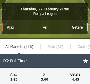 de odds bij Ajax Getafe
