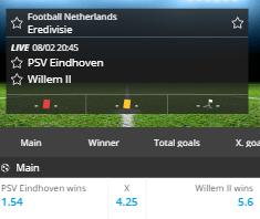 De odds voor de Brabantse derby tussen PSV en Willem 2