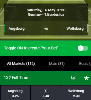 Augsburg tegen Wolfsburg odds van Bet90