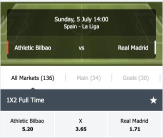 Athletic Bilbao - Real Madrid wedden odds