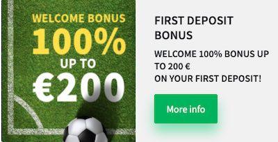De dozenspins bonus is 100% tot 200 euro