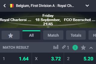 Charleroi tegen Beerschot met hoge odds