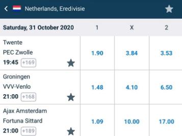 Eredivisie wedden met Ajax, Groningen en Twente