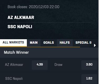 Goede odds bij wedden op AZ Napoli