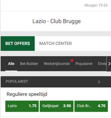wedden op club brugge op versplaatsing bij Lazio Champions League