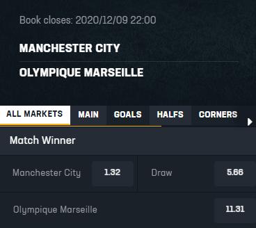 Noxwin odds bij Manchester City-Marseille 09-12-2020