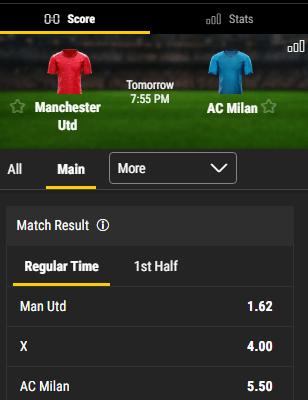 wedden op manU tegen AC Milan