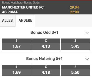 odds bij manchester united - roma europa league