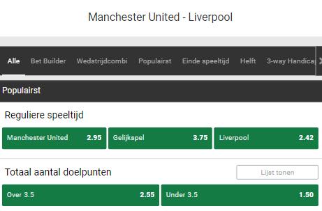 wedden met top odds bij manchester united-liverpool