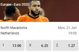 betfirst odds noord macedonie nederland euro 2020