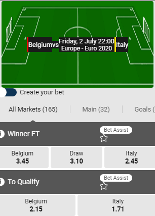 betifrst belgie italie odds