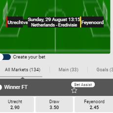 De beste odds bij FC Utrecht - Feyenoord