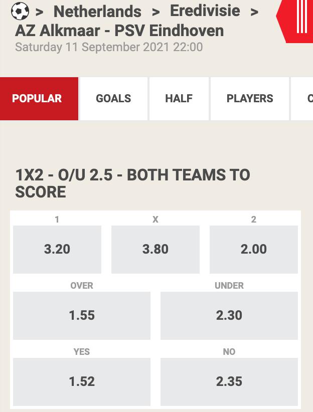 Hoge odds bij AZ - PSV op zaterdag 10-09-2021