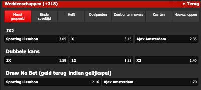 Ajax favofriet in Portugal tegen Sporting