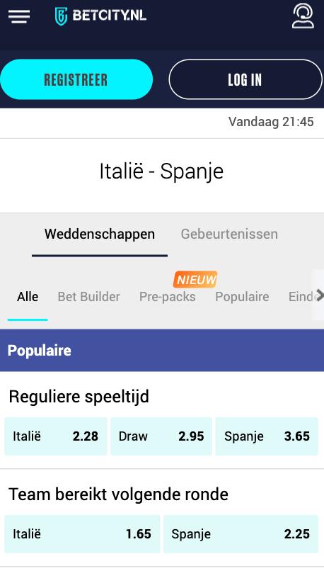wedden op Italie Spanje met de beste odds 06-10-2021